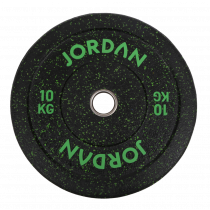 JORDAN FITNESS HG BLACK RUBBER BUMPER PLATE WITH COLOURED FLECK