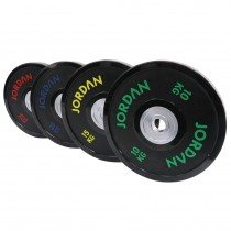 JORDAN FITNESS BLACK URETHANE COMPETITION PLATE - COLOURED TEXT