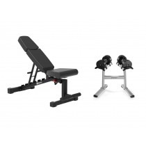 Stairmaster TwistLock Dumbbells, Stand & Bench