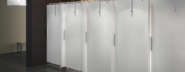 Gymkit UK shower Cubicles with towel hooks